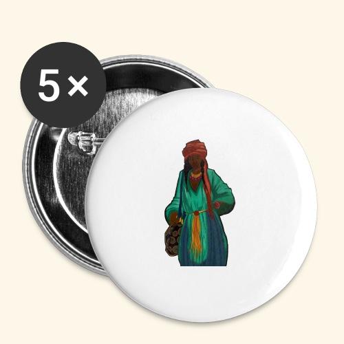 Femme avec sac motif - Lot de 5 petits badges (25 mm)