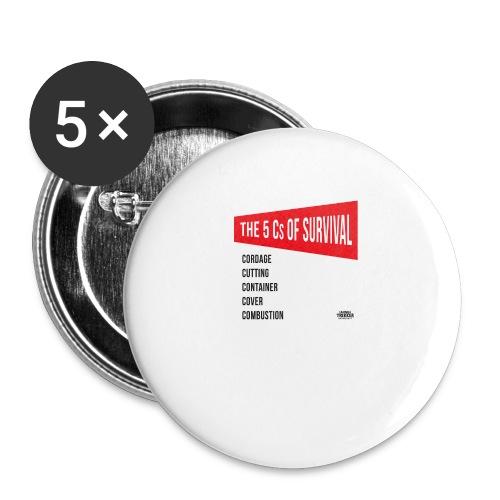 5Cs of Survival Red - Små knappar 25 mm (5-pack)