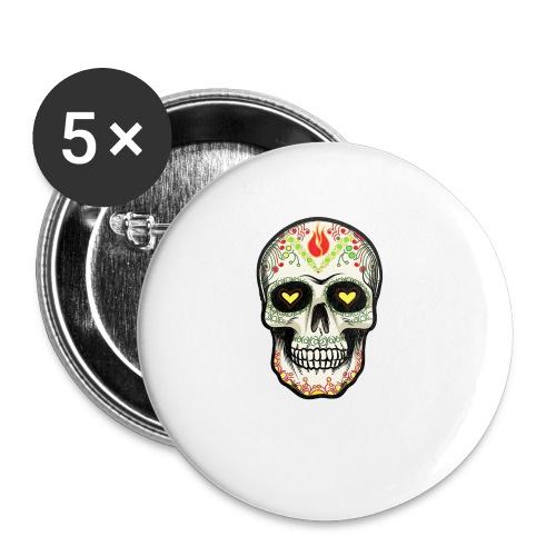 TETE DE MORT 1 - Lot de 5 petits badges (25 mm)