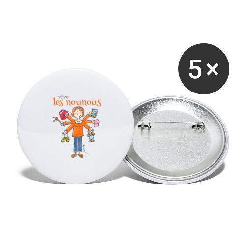 013 vive les nounous - Lot de 5 petits badges (25 mm)