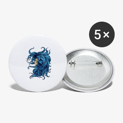 Dame dans le bleu - Lot de 5 petits badges (25 mm)