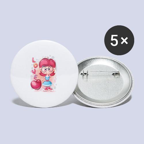Funny and lovely girl cartoon design - Buttons small 1''/25 mm (5-pack)