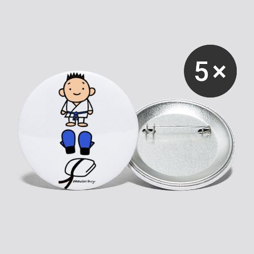 Karate Goederen Blauw - Buttons klein 25 mm (5-pack)