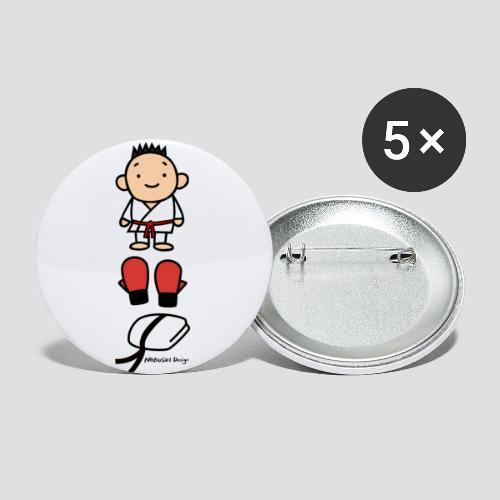 Karate goederen rood - Buttons klein 25 mm (5-pack)