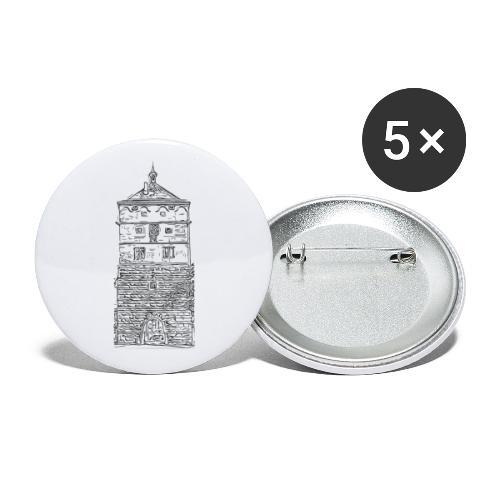 Schwarzes Tor Rottweil Grafik schwarz - Buttons klein 25 mm (5er Pack)