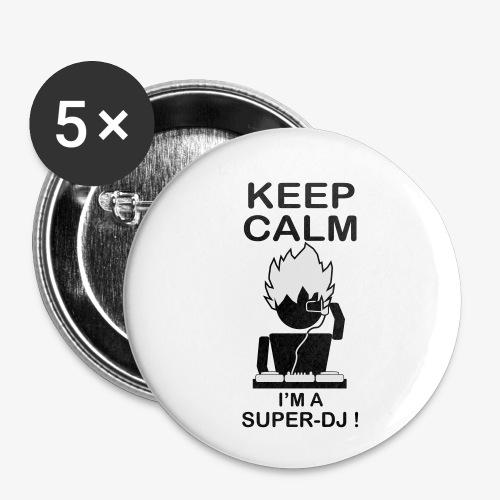 KEEP CALM SUPER DJ B&W - Lot de 5 petits badges (25 mm)