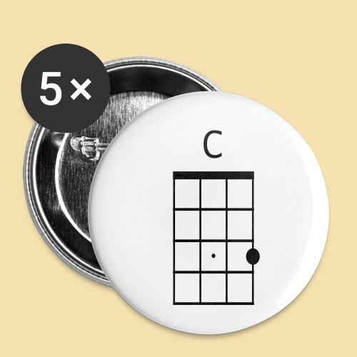 Ukulele C-Dur Akkordklein - Buttons klein 25 mm (5er Pack)