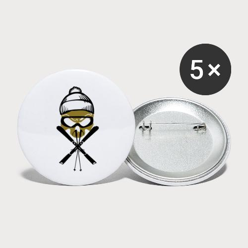 ski_skull - Buttons klein 25 mm (5er Pack)