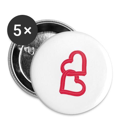 Due cuori uniti ca27 - Confezione da 5 spille piccole (25 mm)