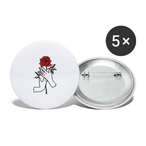 Fiore rosso - Confezione da 5 spille piccole (25 mm)