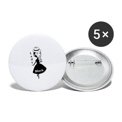 Lady Black - Buttons klein 25 mm (5er Pack)