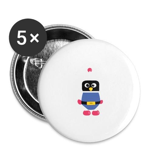 Pingouin Dyna - Lot de 5 petits badges (25 mm)