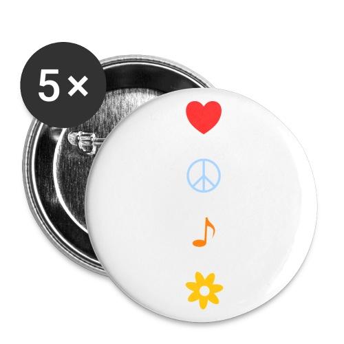 Love Peace Music Flower Hippie Summer - Buttons klein 25 mm (5er Pack)