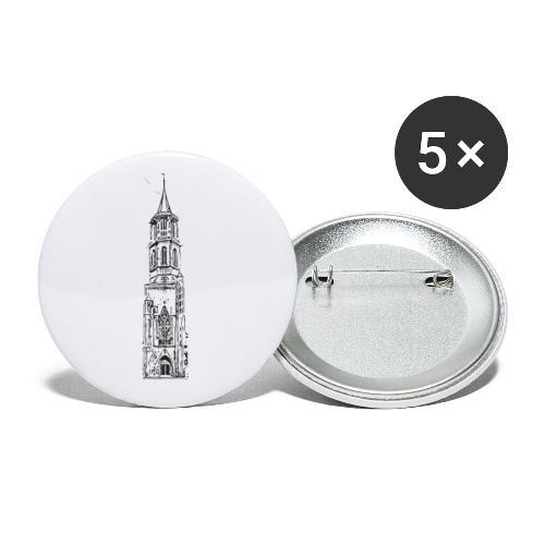 Kapellenturm Rottweil Grafik schwarz - Buttons klein 25 mm (5er Pack)