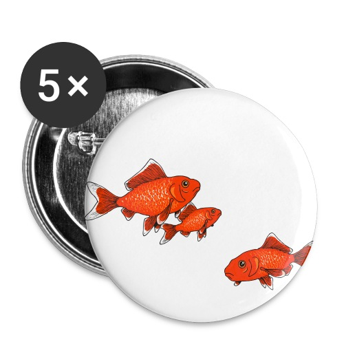 Poissons rouges - Lot de 5 petits badges (25 mm)