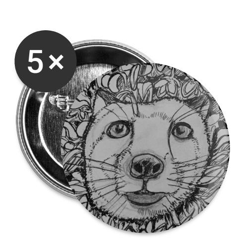 The Fox - Buttons klein 25 mm (5er Pack)