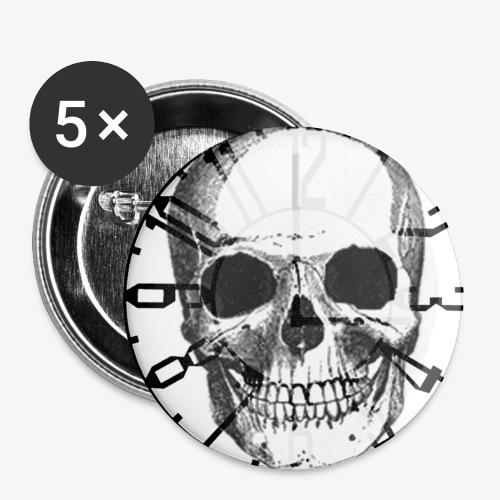 skull_uhr_sw - Buttons klein 25 mm (5er Pack)
