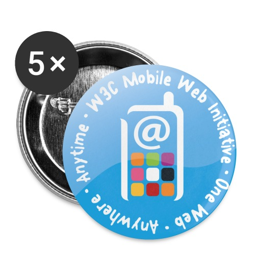 badge mobile web initiative blue - Buttons small 1''/25 mm (5-pack)
