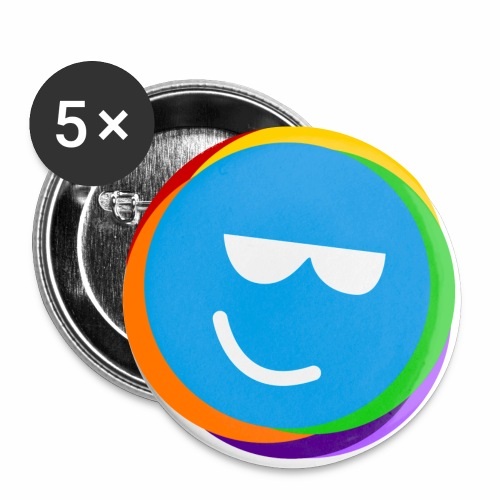 my better life - happy smiley blue - Buttons klein 25 mm