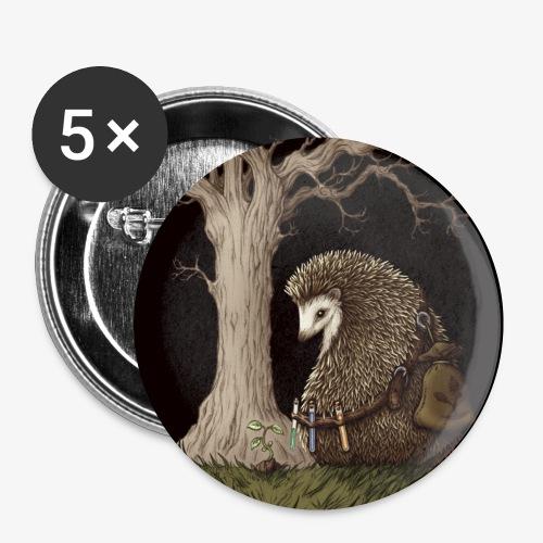Hérisson du renouveau - Lot de 5 petits badges (25 mm)