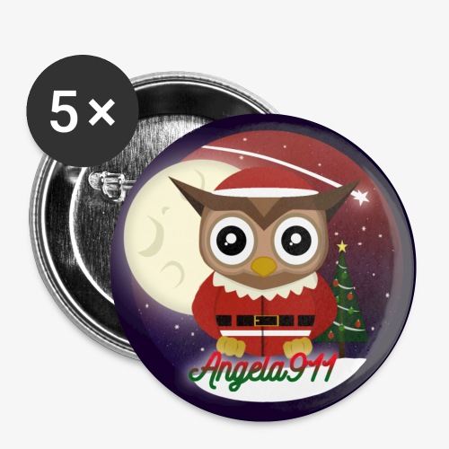 Santa Owl Pin's - Buttons small 1''/25 mm (5-pack)