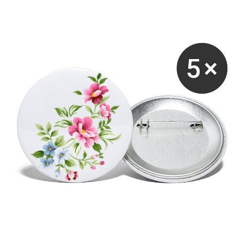 Flowers of love - Paquete de 5 chapas pequeñas (25 mm)