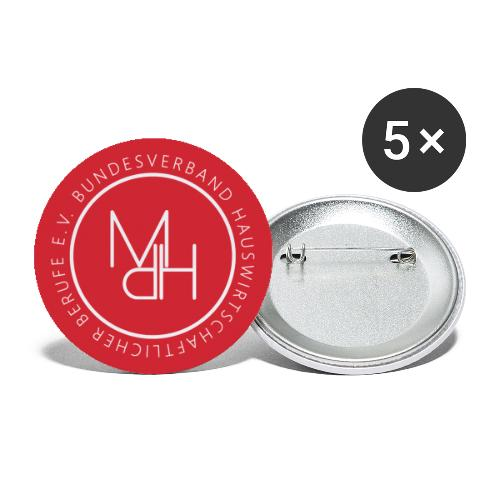 Rot auf weiß - Buttons klein 25 mm (5er Pack)