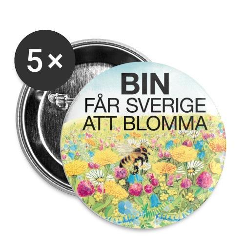 Bin får Sverige att blomma - Små knappar 25 mm (5-pack)