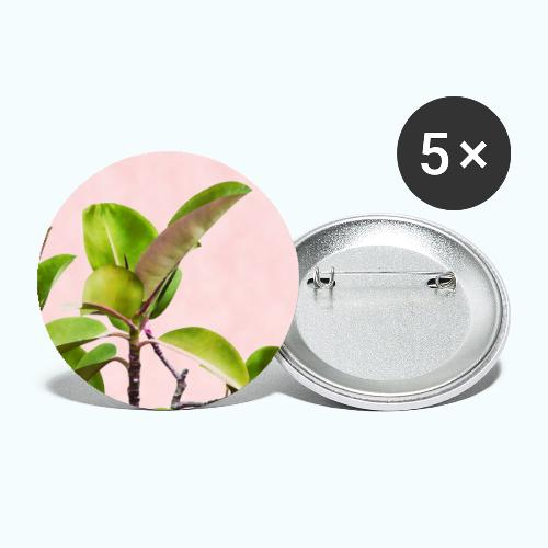 Rubber tree leaf minimalism watercolor - Buttons small 1''/25 mm (5-pack)