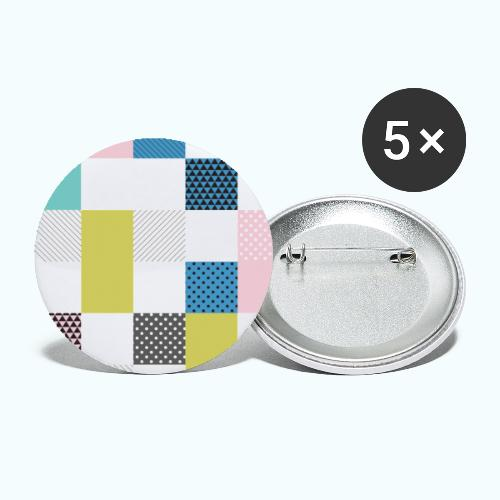 Abstract art squares - Buttons small 1''/25 mm (5-pack)
