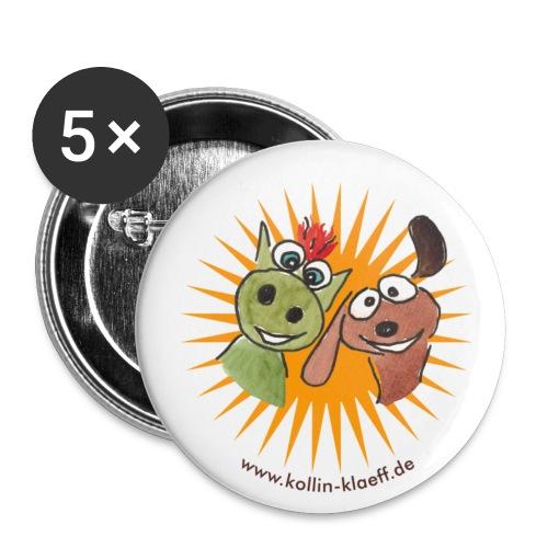 Kollin Kläff - Hund mit Drache - Buttons klein 25 mm (5er Pack)