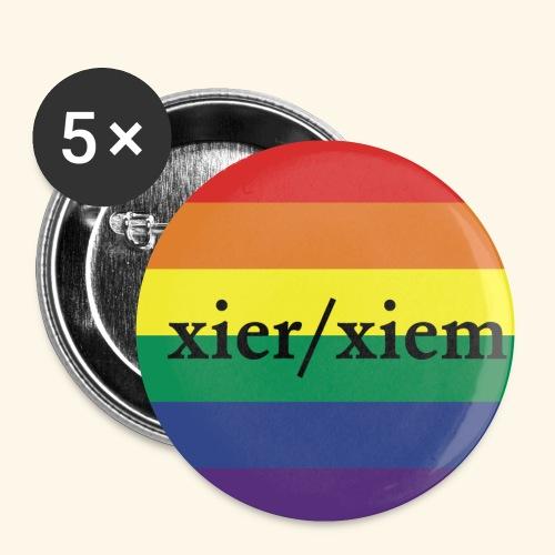 Pronomen XIEr XIEM PRIDE Regenbogen - Buttons klein 25 mm (5er Pack)