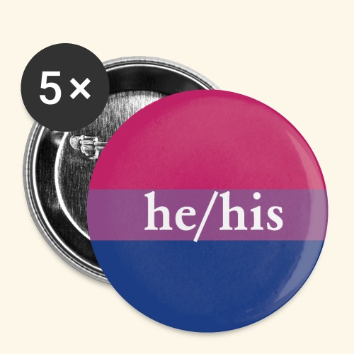 HE HIS - BI FLAG - Buttons klein 25 mm (5er Pack)