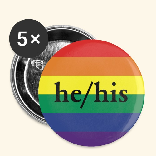 HE HIS - PRIDE FLAG - Buttons klein 25 mm (5er Pack)