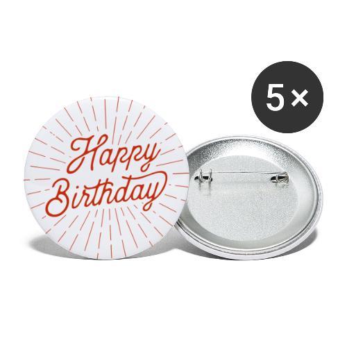 happy birthday - Buttons klein 25 mm (5er Pack)
