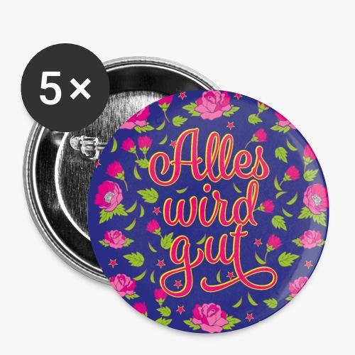 02 Alles wird gut Blumen Rosen Maske Mundschutz - Buttons klein 25 mm (5er Pack)