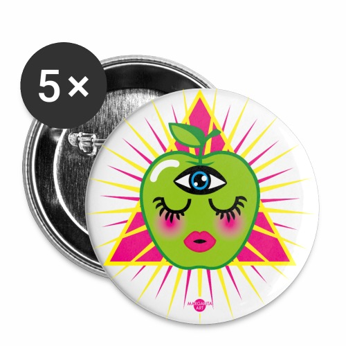 57 Apfel im Dreieck Magisches Auge Frucht Humor - Buttons klein 25 mm (5er Pack)