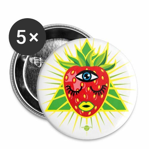 58 Erdbeere im Dreieck Magisches Auge - Buttons klein 25 mm (5er Pack)