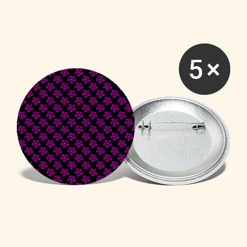 violette Blumen, Blüten, floral, blumig, violett - Buttons klein 25 mm (5er Pack)