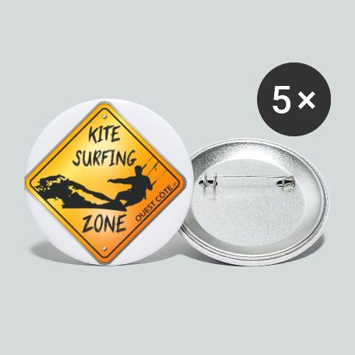 KITESURFING ZONE OUEST CÔTE - Lot de 5 petits badges (25 mm)
