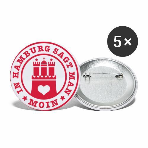 109 In Hamburg sagt man MOIN Wappen Spruch - Buttons klein 25 mm (5er Pack)