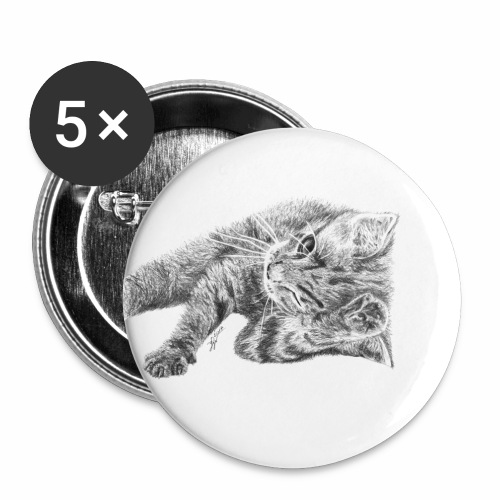 Small kitten in gray pencil - Buttons small 1''/25 mm (5-pack)