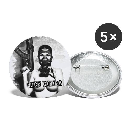 masked girl with AK - FUCK CORONA - 4black clothes - Buttons klein 25 mm (5er Pack)
