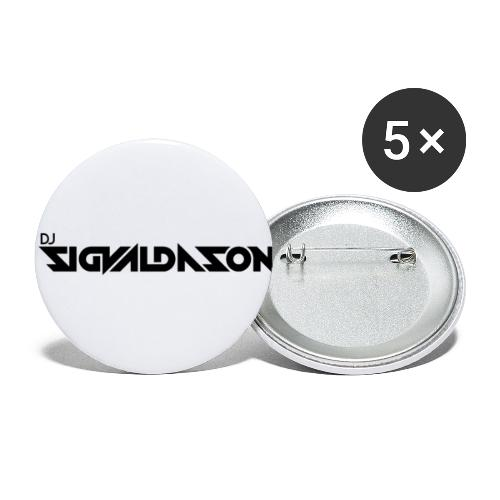 DJ logo sort - Buttons/Badges lille, 25 mm (5-pack)