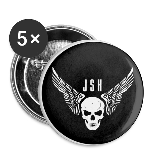 JSHButtonskullwingsblackwhite png - Buttons small 1''/25 mm (5-pack)