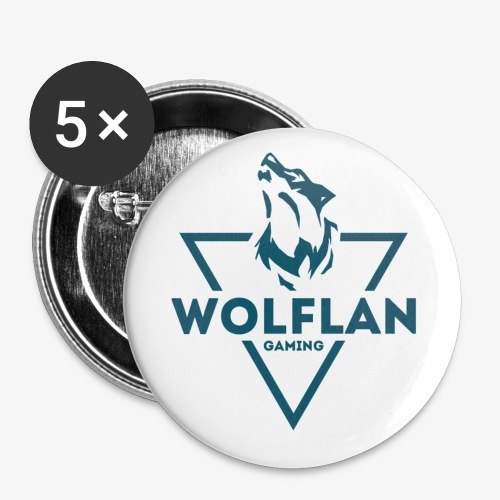 WolfLAN Logo Gray/Blue - Buttons small 1''/25 mm (5-pack)
