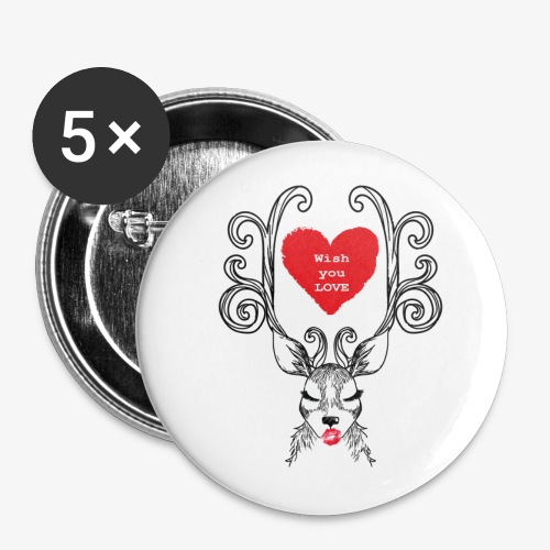 Christmas deer Wish you Love - Buttons small 1''/25 mm (5-pack)