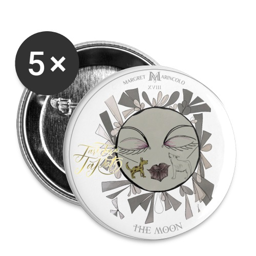 The Moon | Der Mond Tarot Karte | Fische - Buttons klein 25 mm (5er Pack)