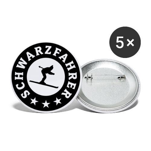 Schwarzfahrer Après-Ski Skifahrer - Buttons klein 25 mm (5er Pack)