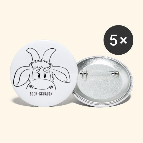Schafbock: Bock schauen - schwarz - Buttons klein 25 mm (5er Pack)